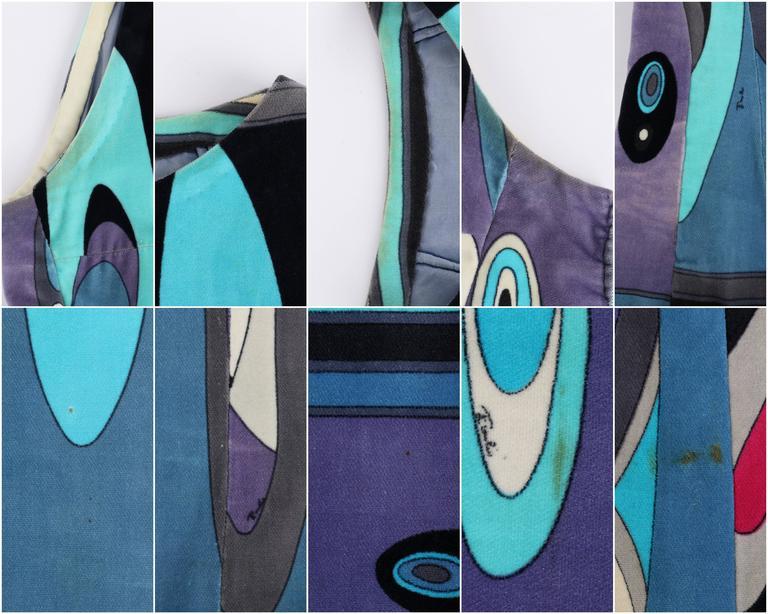 EMILIO PUCCI c.1960's Multicolor Op Art Bubble Signature Print Velvet Maxi Dress For Sale 2