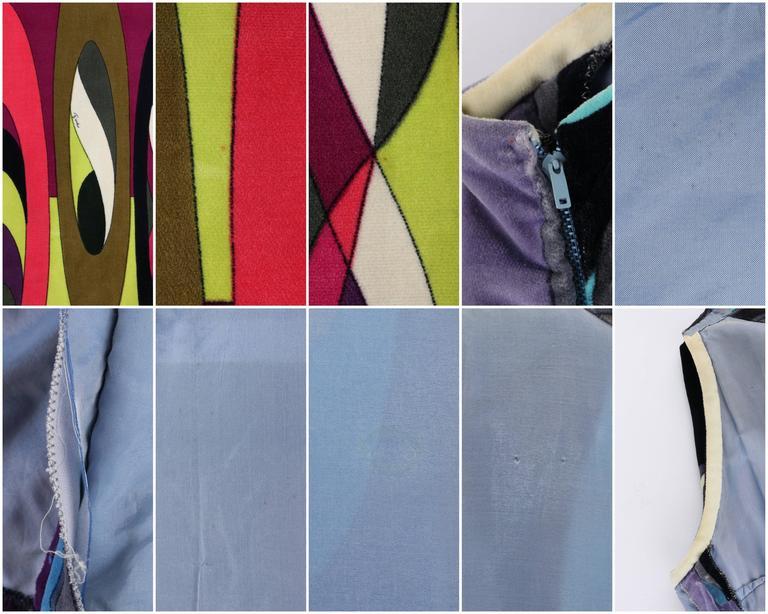 EMILIO PUCCI c.1960's Multicolor Op Art Bubble Signature Print Velvet Maxi Dress For Sale 4