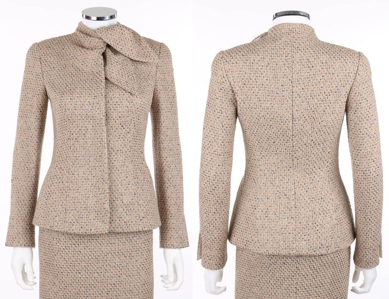 "ALEXANDER McQUEEN A/W 2004 ""Pantheon As Lecum"" 2 Piece Beige Blazer Skirt Suit 2"