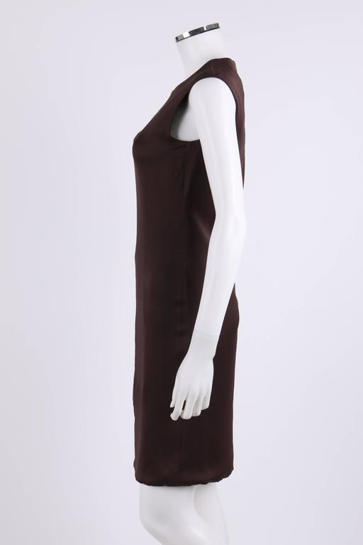 MAISON MARTIN MARGIELA A/W 2009 Dark Plum Crepe Black Leather Asymmetrical Dress 5