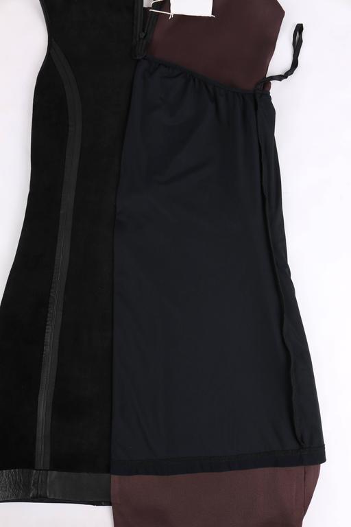 MAISON MARTIN MARGIELA A/W 2009 Dark Plum Crepe Black Leather Asymmetrical Dress 8