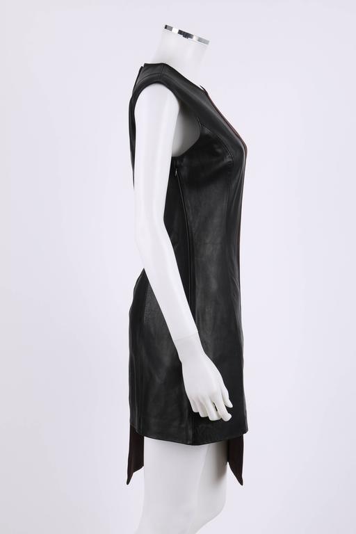 MAISON MARTIN MARGIELA A/W 2009 Dark Plum Crepe Black Leather Asymmetrical Dress 3