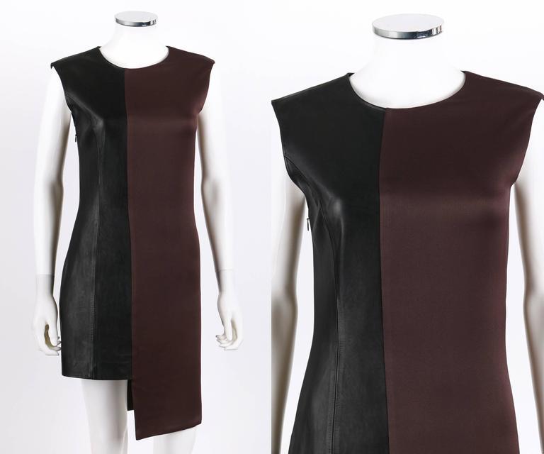 MAISON MARTIN MARGIELA A/W 2009 Dark Plum Crepe Black Leather Asymmetrical Dress 2