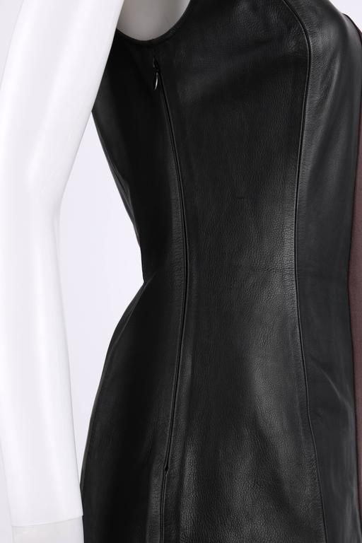 MAISON MARTIN MARGIELA A/W 2009 Dark Plum Crepe Black Leather Asymmetrical Dress 6