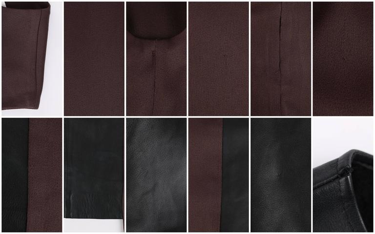 MAISON MARTIN MARGIELA A/W 2009 Dark Plum Crepe Black Leather Asymmetrical Dress 9