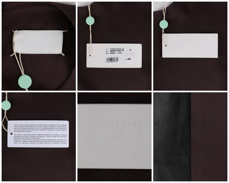 MAISON MARTIN MARGIELA A/W 2009 Dark Plum Crepe Black Leather Asymmetrical Dress 10