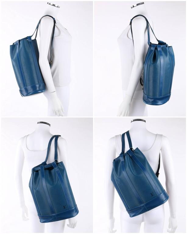 louis vuitton c 1995  u0026quot randonnee u0026quot  blue epi leather gm sling back purse backpack for sale at 1stdibs