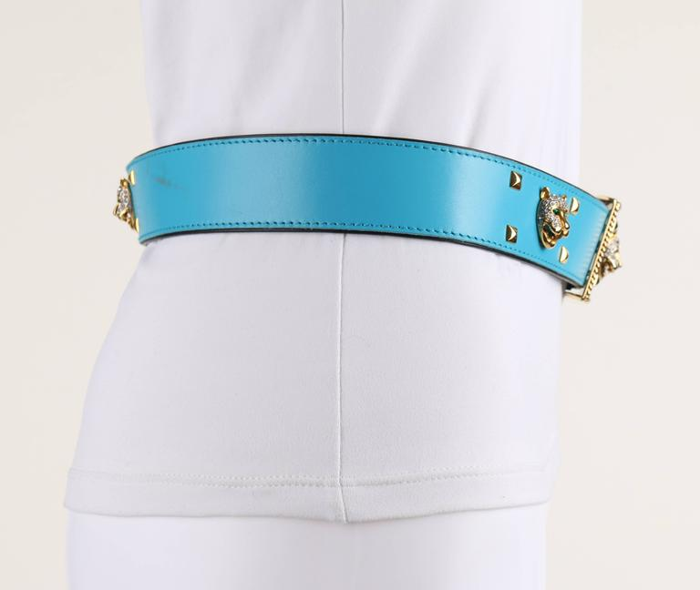 ESCADA c.1980's Turquoise Blue Leather Gold Studded Rhinestone Jaguar Belt In Excellent Condition For Sale In Thiensville, WI