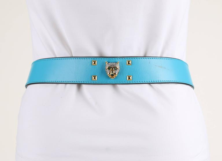 Women's ESCADA c.1980's Turquoise Blue Leather Gold Studded Rhinestone Jaguar Belt For Sale