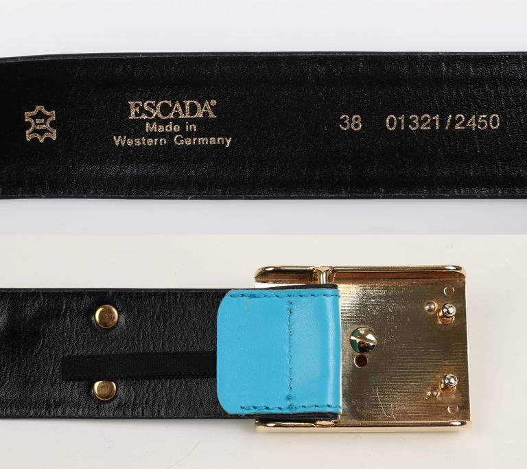 ESCADA c.1980's Turquoise Blue Leather Gold Studded Rhinestone Jaguar Belt For Sale 4