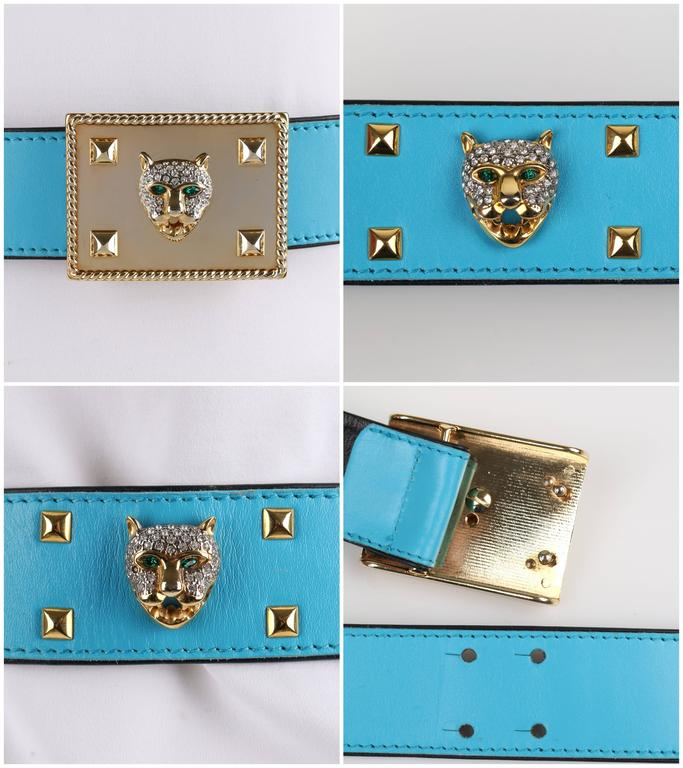 ESCADA c.1980's Turquoise Blue Leather Gold Studded Rhinestone Jaguar Belt For Sale 3