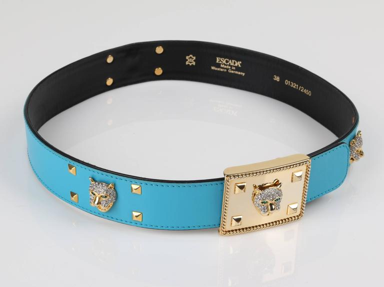 ESCADA c.1980's Turquoise Blue Leather Gold Studded Rhinestone Jaguar Belt For Sale 6