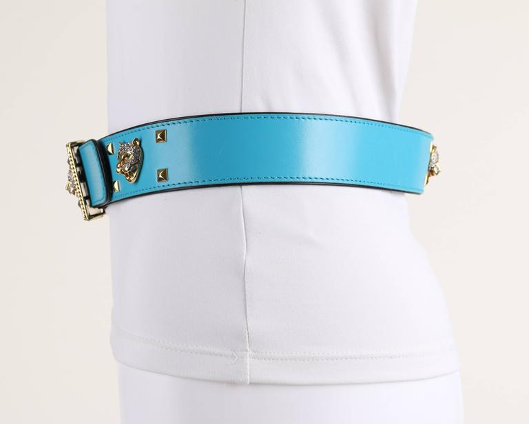 ESCADA c.1980's Turquoise Blue Leather Gold Studded Rhinestone Jaguar Belt For Sale 1