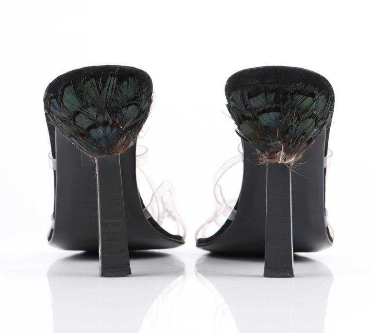 ATELIER VERSACE Black Clear Criss Cross Medusa Peacock Feather Heels Size 40 For Sale 3