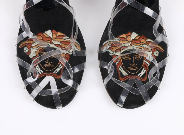 ATELIER VERSACE Black Clear Criss Cross Medusa Peacock Feather Heels Size 40 For Sale 2