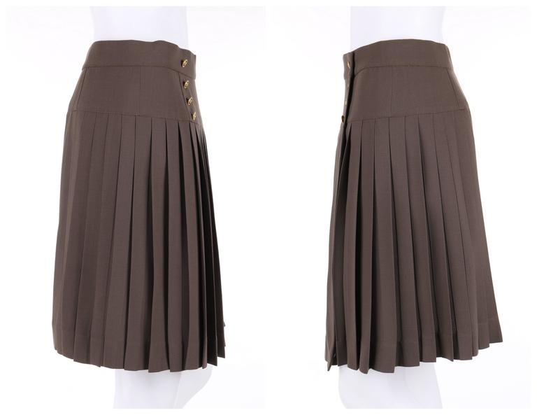 Gray CHANEL c.1990's Dark Taupe Button Front Knife Pleated Skirt For Sale