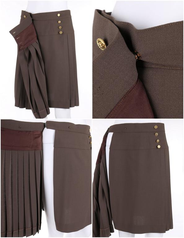 CHANEL c.1990's Dark Taupe Button Front Knife Pleated Skirt For Sale 1