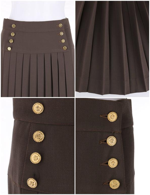 Women's CHANEL c.1990's Dark Taupe Button Front Knife Pleated Skirt For Sale