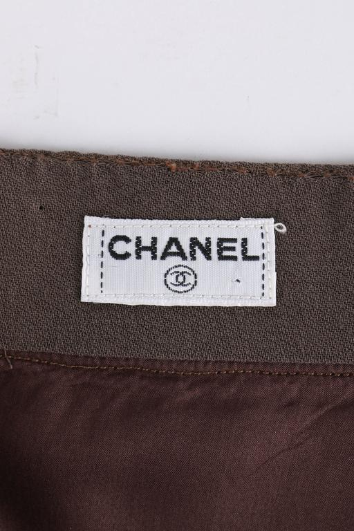 CHANEL c.1990's Dark Taupe Button Front Knife Pleated Skirt For Sale 4