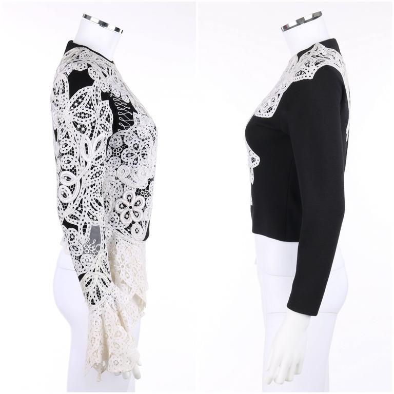GIANFRANCO FERRE A/W 1988 Black Wool Knit White Avant Garde Lace Applique Top 3