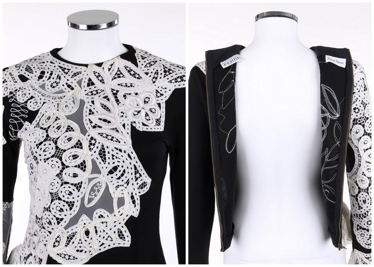 Gianfranco ferre a w black wool knit white avant garde lace