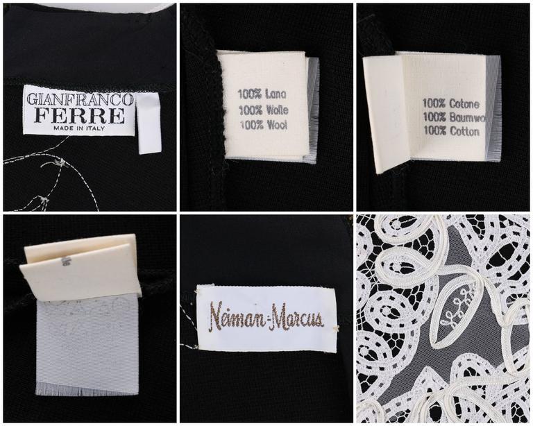 GIANFRANCO FERRE A/W 1988 Black Wool Knit White Avant Garde Lace Applique Top 7