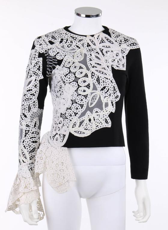 GIANFRANCO FERRE A/W 1988 Black Wool Knit White Avant Garde Lace Applique Top 2