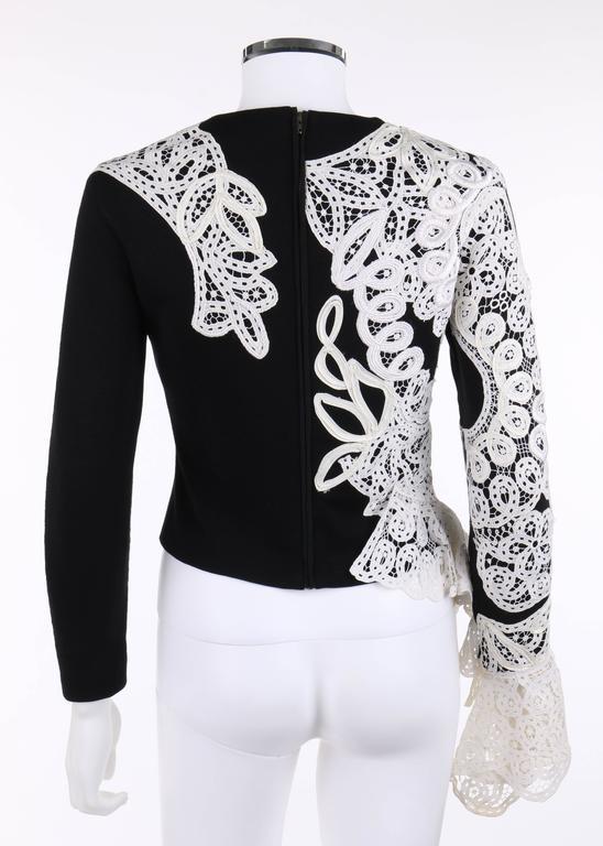 GIANFRANCO FERRE A/W 1988 Black Wool Knit White Avant Garde Lace Applique Top 4