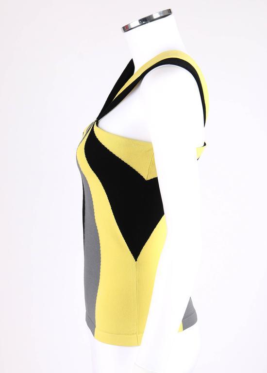 Women's ALEXANDER McQUEEN Resort 2010 Yellow Black Gray Starburst Op Art Knit Tank Top For Sale