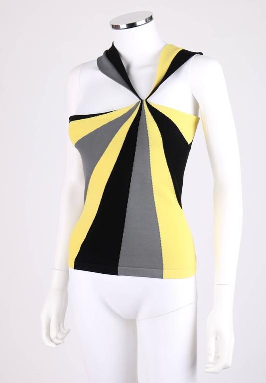 ALEXANDER McQUEEN Resort 2010 Yellow Black Gray Starburst Op Art Knit Tank Top For Sale 1