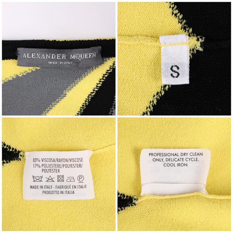 ALEXANDER McQUEEN Resort 2010 Yellow Black Gray Starburst Op Art Knit Tank Top For Sale 4