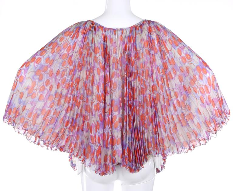 """ALEXANDER McQUEEN S/S 2003 """"Irere"""" Silk Chiffon Cherry Print Accordion Pleat Top In Excellent Condition For Sale In Thiensville, WI"""