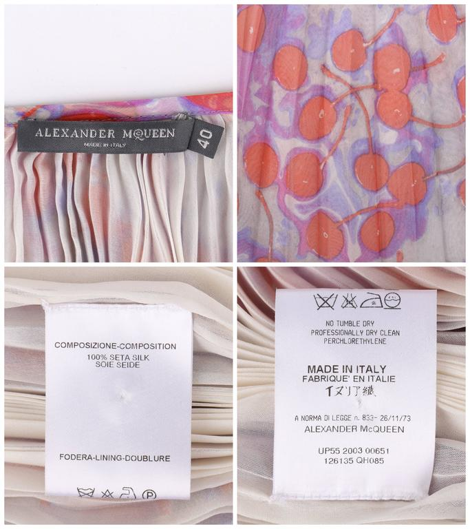 "ALEXANDER McQUEEN S/S 2003 ""Irere"" Silk Chiffon Cherry Print Accordion Pleat Top For Sale 4"