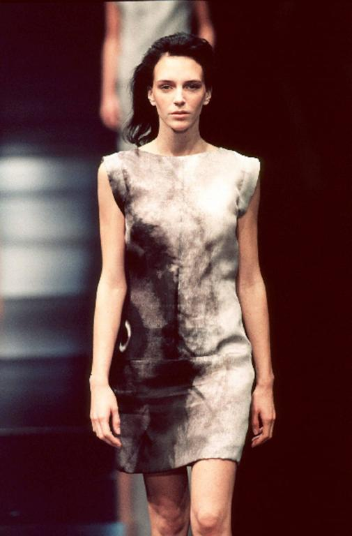 GIVENCHY Couture S/S 1999 ALEXANDER McQUEEN Black White Abstract Eye Print Dress For Sale 5