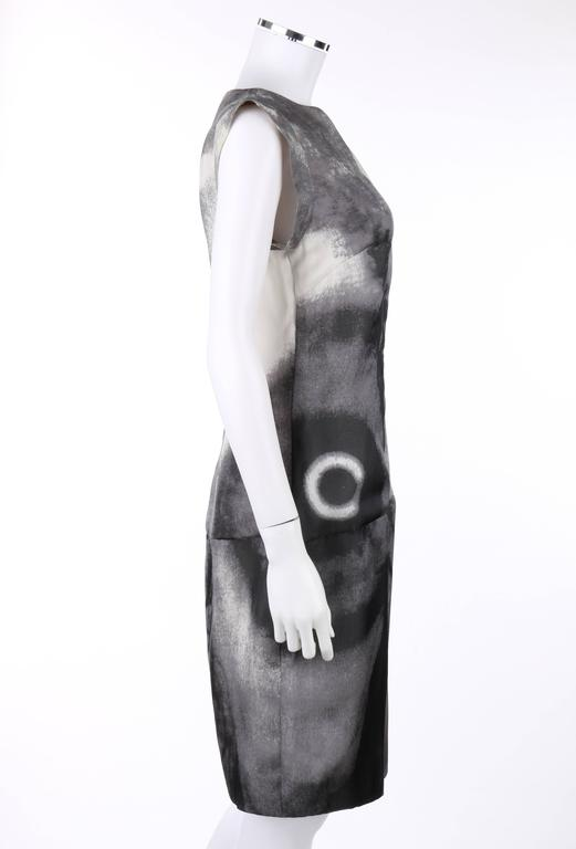 Gray GIVENCHY Couture S/S 1999 ALEXANDER McQUEEN Black White Abstract Eye Print Dress For Sale