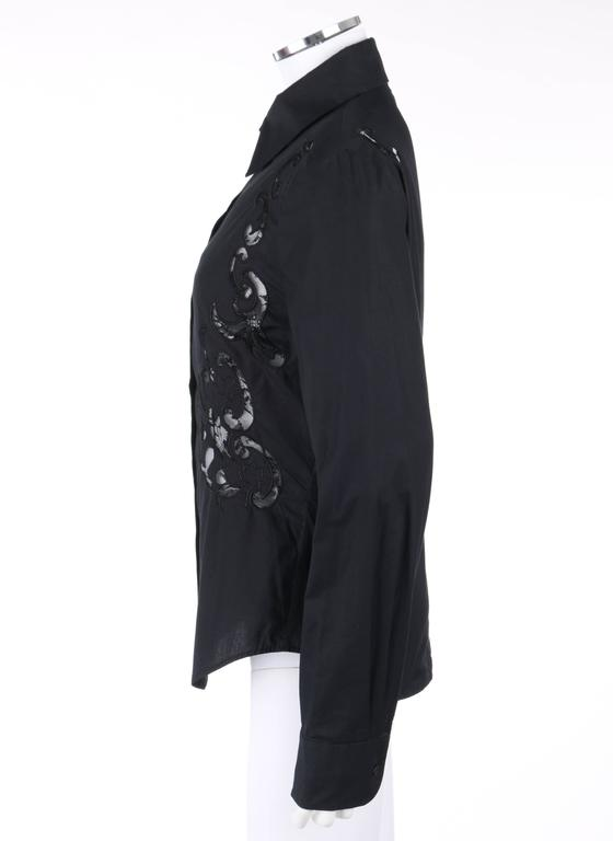 GIVENCHY Couture S/S 1998 ALEXANDER McQUEEN Black Floral Lace Cut Work Shirt 7