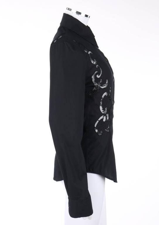 GIVENCHY Couture S/S 1998 ALEXANDER McQUEEN Black Floral Lace Cut Work Shirt 5