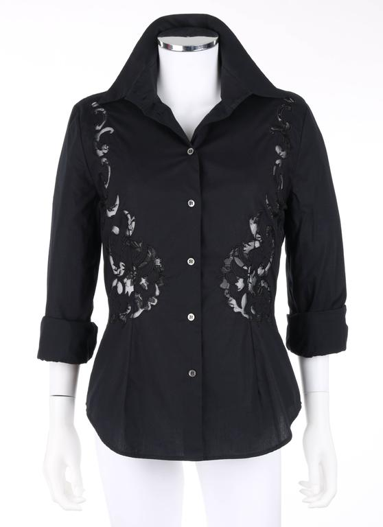 GIVENCHY Couture S/S 1998 ALEXANDER McQUEEN Black Floral Lace Cut Work Shirt 2