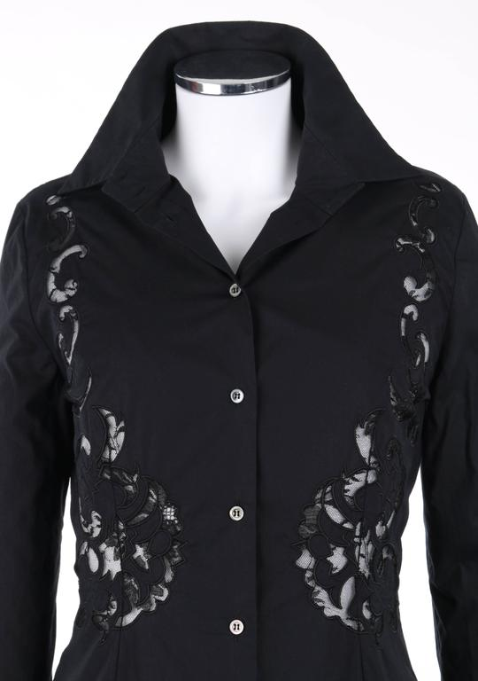 GIVENCHY Couture S/S 1998 ALEXANDER McQUEEN Black Floral Lace Cut Work Shirt 4