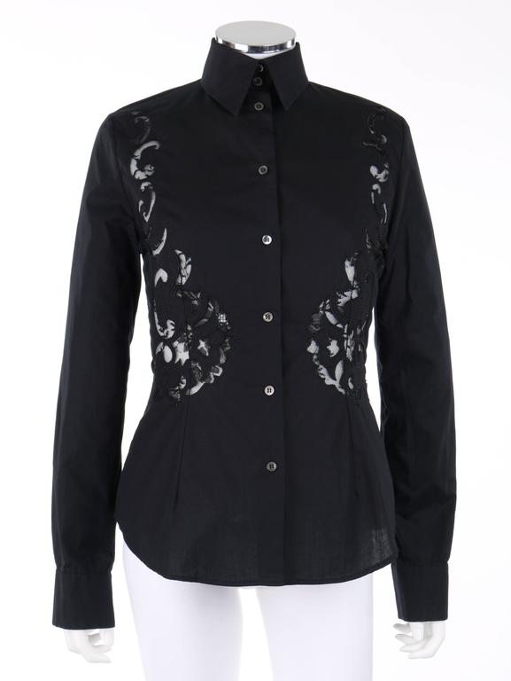 GIVENCHY Couture S/S 1998 ALEXANDER McQUEEN Black Floral Lace Cut Work Shirt 3