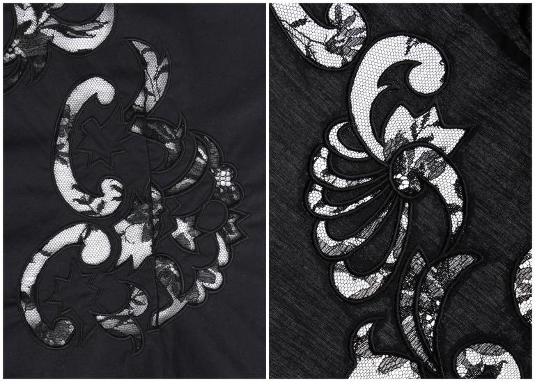 GIVENCHY Couture S/S 1998 ALEXANDER McQUEEN Black Floral Lace Cut Work Shirt 8
