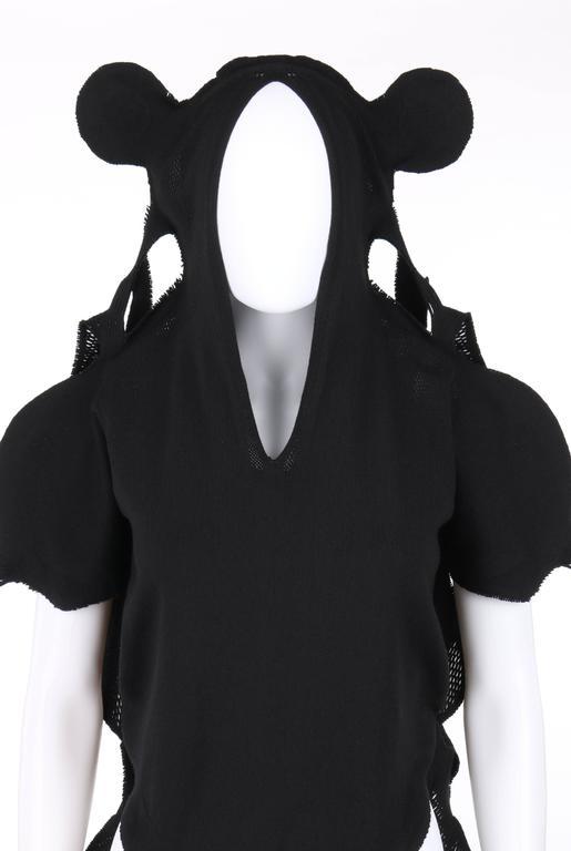 Women's ISSEY MIYAKE A-Poc c.2001 DAI FUJIWARA Black Knit Monkey Top RARE For Sale