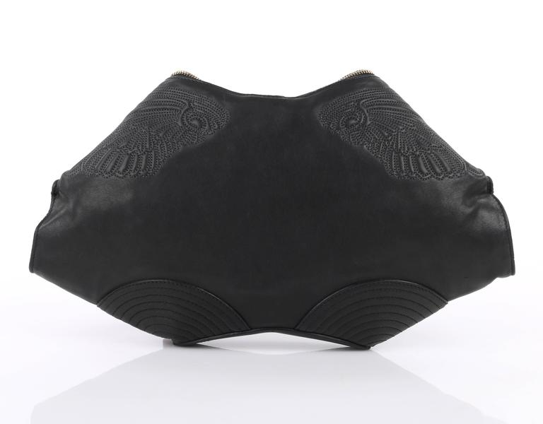 "Rare Alexander McQueen A/W 2010 Quilted leather angel ""De-Manta"" clutch. From Alexander McQueen's last collection, ""Angels & Demons"", in which items were recalled due to a lawsuit with the Hell's Angels biker group over the"