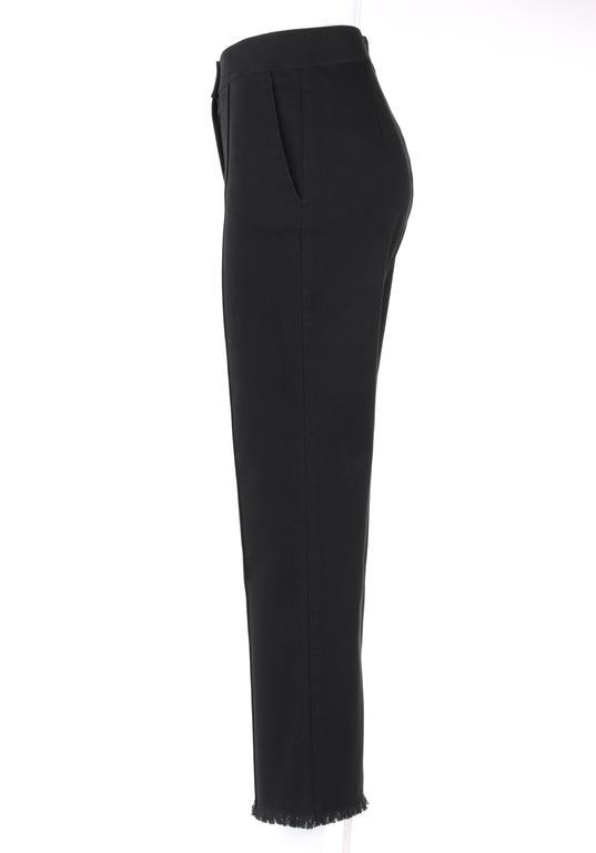 CHANEL S/S 2004 Black Cotton Gaberdine Straight Leg Raw Edge Fringe Capri Pants 5