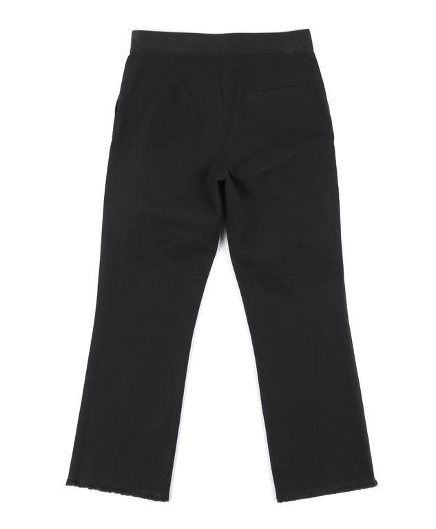 CHANEL S/S 2004 Black Cotton Gaberdine Straight Leg Raw Edge Fringe Capri Pants 7