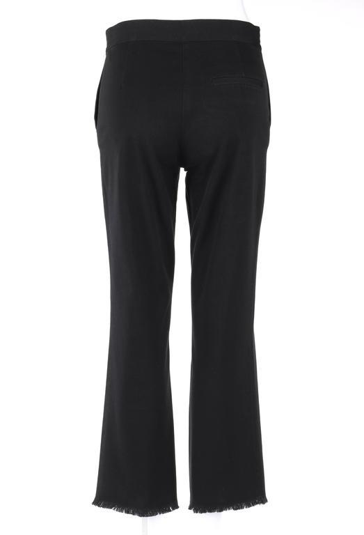 CHANEL S/S 2004 Black Cotton Gaberdine Straight Leg Raw Edge Fringe Capri Pants 4