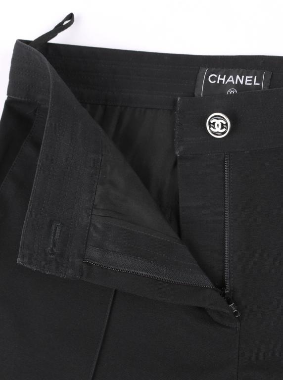 CHANEL S/S 2004 Black Cotton Gaberdine Straight Leg Raw Edge Fringe Capri Pants 9