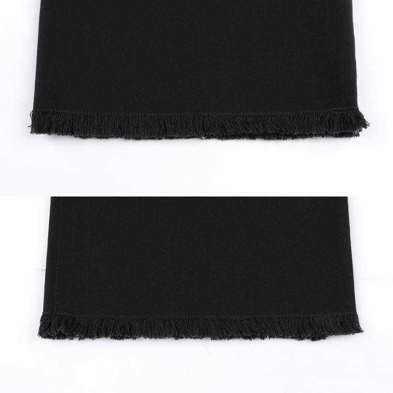 CHANEL S/S 2004 Black Cotton Gaberdine Straight Leg Raw Edge Fringe Capri Pants 8
