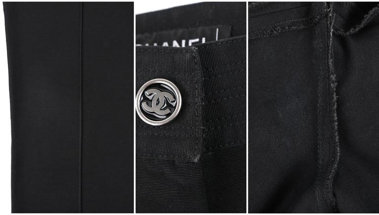 CHANEL S/S 2004 Black Cotton Gaberdine Straight Leg Raw Edge Fringe Capri Pants 10