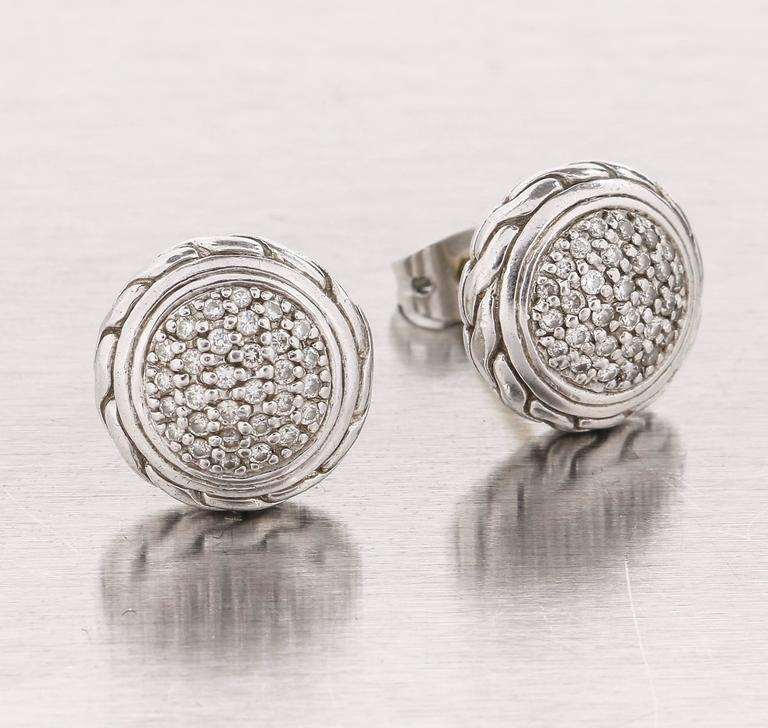 John Hardy From The Clic Chain Collection Round Pave Diamond Sterling Silver And 18k